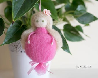 Pink fairy needle felted doll waldorf inspired fairy with rose long-haired doll house fairy birthday gifl for girl mom and daughter gift