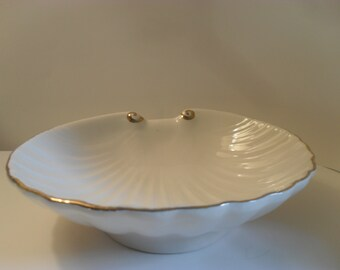 Large, Signed, Shell-Shaped, Gilt-Edged China Bowl