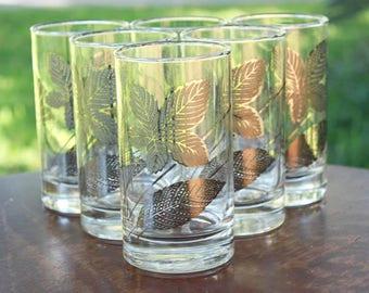 Vintage Libbey Metallic Silver Leaf Drinking Glasses Barware 1960s