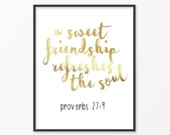 Proverbs 27:9, Gold Foil Print, Friendship, Scripture, Bible Verse, Jesus, Gift