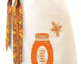 NEW Organic block print honey apron