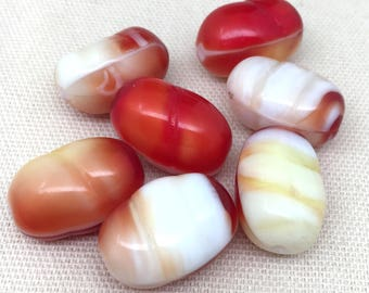 3 Vintage White Yellow Red German Glass Beads 22mm