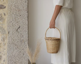 Jane Birkin Basket - small, basket with a Lid, Round Wicker Basket, Round Willow Basket, Round Basket, Jane Birkin Basket, Basket Purse.