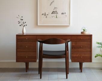 Society Desk - Solid Walnut - Mid Century Modern Inspired