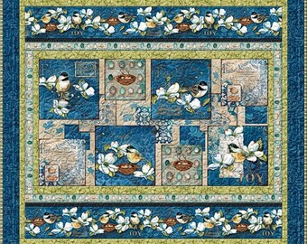 """Feather Your Nest - Bird Fabric DIY Throw Quilt - Nancy Mink for Wilmington Fabric - Wall Hanging Kit 54""""x57"""""""