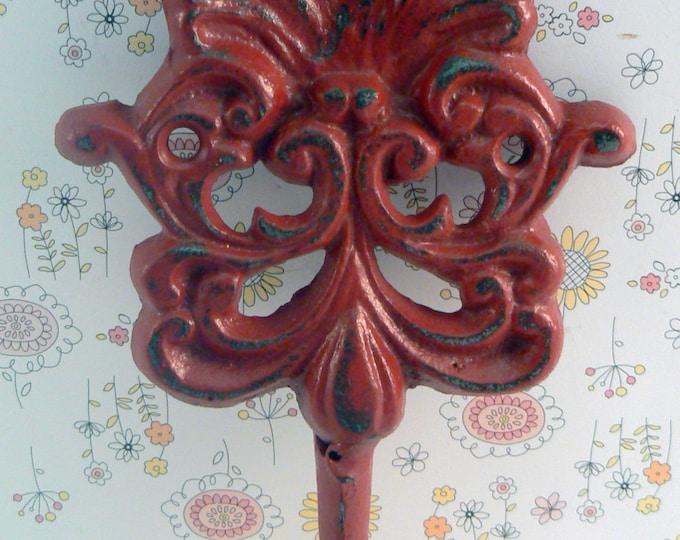 Swirly Ornate Heavy Hook Colonial Heritage Red Shabby Distressed Cast Iron Wall Coat Leash Hat Mudroom Bath Towel Scarf Jewelry Keys Hook