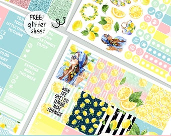 Lemonade - KIT - PRINTABLE silhouette cut file , Mother's Day kit stickers,  printable planner stickers Erin Condren Life Planner
