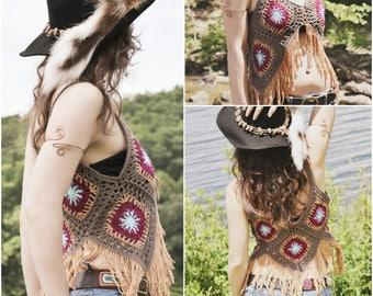 Crochet PATTERN: Blossom Vest / Retro Crochet Granny Square Vest / Hippie Boho Fringe Vest in 4 sizes / Instant Download PDF File