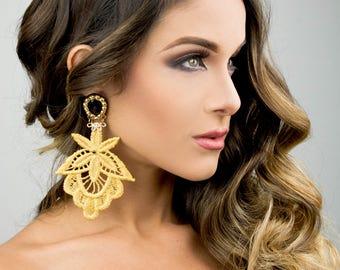 Gold Dangle Earrings, Gold Chandelier Earring, Boho Earrings, Custom Jewelry, Fashion Earrings, Long Earrings, Drop Earrings, Prom Jewelry
