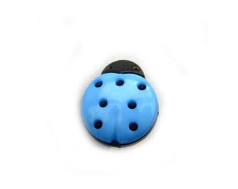 10 Blue Ladybug Buttons