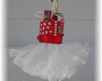 Handmade Faerie, Fae, Miniature Dress Fairy Dress, White Carnation, Red Strawberry Bodice, Fairy Garden, By Willow Bloome