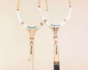 Tennis Racquets set of Two - Vintage Tennis Racquets - Vintage Wooden Rackets, Wood Tennis Racquets, Gift for Tennis Player, GDR Collectible