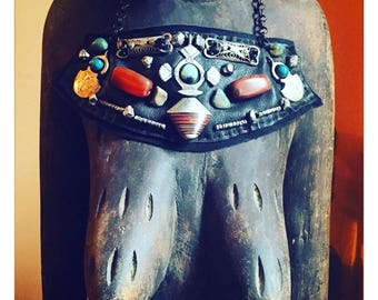 THE SHIELD NECKLACE by Gilded-Mane : Vintage African Pendant & Carnelian Beads on Black Leather, Large