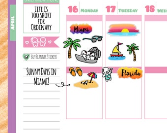 Munchkins - Miami Florida Travel the World Planner Stickers (M111)