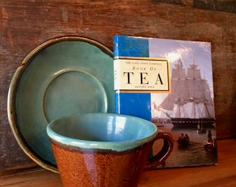 Cup and  Saucer, Zanesville Stoneware John B Taylor Country Fare, Handmade Rustic Pottery