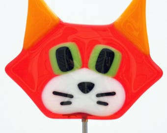 Glassworks Northwest - Cute Cat Plant Stake Orange - Fused Glass Garden Art