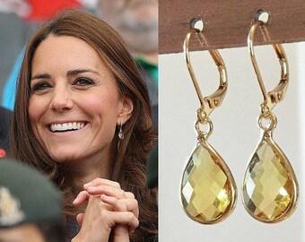 Kate Middleton Inspired Citrine Crystal Gemstone Gold Teardrop Earrings