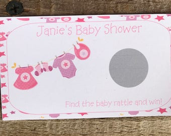 Personalized Baby Shower Scratch off Ticket Baby Girl Baby Clothesline