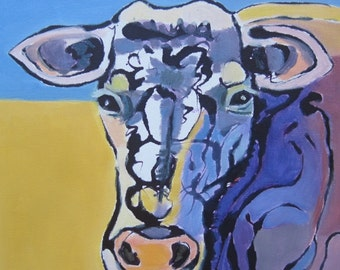 Original Oil Painting Purple Cow