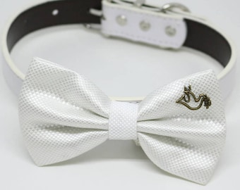 White Dog Bow tie collar, Dove with Olive Branch, birthday, Pet wedding accessory, one of the kind