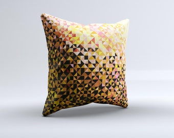 Golden Abstract Tiled ink-Fuzed Decorative Throw Pillow