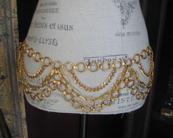 Fabulous Gold Tone Chain Belt  Chain Links Belt 70's Fashion Belt