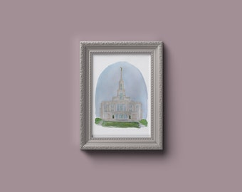 Payson Utah LDS Temple Watercolor Print