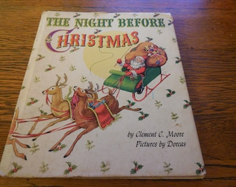 Rare 1948 The Night Before Christmas By Clement C Moore Hard Cover Dust Jacket clean