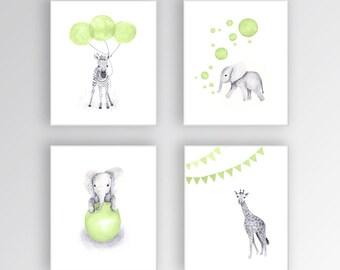 Kids Wall Art, Canvas Nursery Art, Green and Gray Nursery, Elephant Nursery, Safari Animals, Set of Four Canvas - S421
