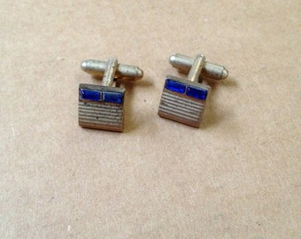 Art Deco Silverplate and Faceted Cobalt Sapphire Blue Cuff Links