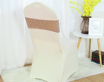 Rose Gold Glitter Sequin Chair Bands Chair Sashes Chair Bow Ribbon Wedding Engagement Birthday Anniversary Party Reception Bouquet Decor