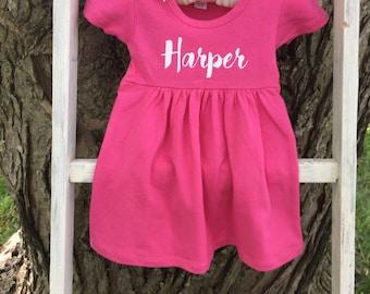Personalized Baby Dress // Personalized Cotton Dress // White Baby Dress // Baby Girl Summer Dress // Baby Girl Dress //