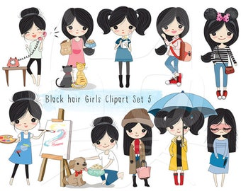 Black hair girl Clip art set 5 , instant download PNG file - 300 dpi