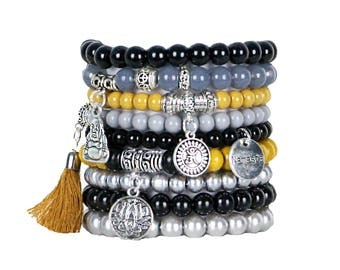 Beaded Bracelets Set of 9 Stretch Bracelets Bohemian Namaste Themed Stack with Silver Tone Charms and Tassel