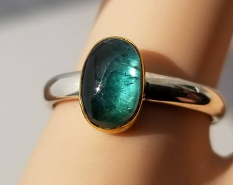 TOURMALINE Ring Size 7 1/2 Blue Indicolite. ,24 Kt Gold & Sterling . gorgeous