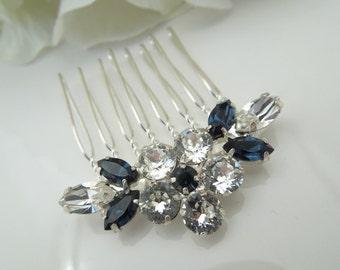 Swarovski crystal hair comb wedding hair comb rhinestone hair comb bridal hair comb something blue crystal hair comb vintage style Caelin