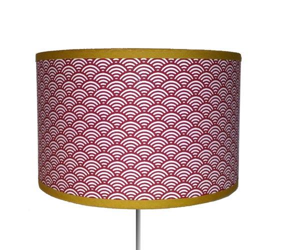abat jour motif japonais vagues rouges. Black Bedroom Furniture Sets. Home Design Ideas