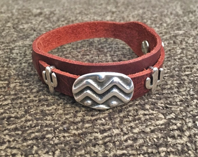 Featured listing image: Boho Bracelet, Adjustable Button Snap Dark Red Leather Wrap Bracelet with Tribal Slider Bar Charm and Cactus Charms, Boho Jewelry, 50004