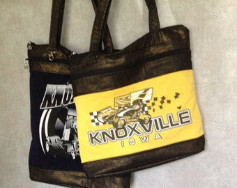 Upcycled Knoxville Iowa sprint car racing Tote - Yellow and Black Eco friendly - Gift Sprint car fan, Gift race car, Gift Knoxville IA