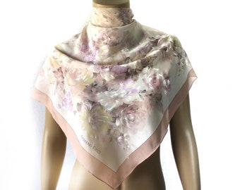 """Mother's Day Week SALE Vintage Stefano Ricci Flowers Light Pink Silk Scarf 35x35"""""""