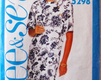 Easy See And Sew Misses/Misses Petite Pullover Dress Sewing Pattern - Butterick 5298  - Sizes 12-14-16, Bust 34 - 38