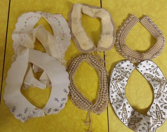 Lot 7 vintage collars, metal hook/eye close, linen lined fabric embroidered/lace & 4 beaded, one fur beaded, 2 champagne beaded