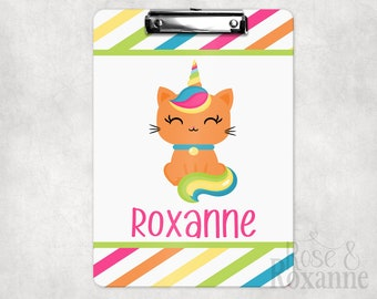 Personalized Caticorn Clipboard Cat Unicorn | Back to School Gift | Teacher Gift