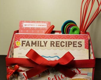 Recipe Gift Card Box Set, Recipe Cards, Shopping List, Measuring Spoons, Whisk, Handmade