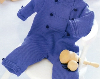 baby boys all in one 4 ply knitting and crochet pattern 99p