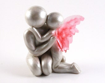 Father with Heavenside Daughter Sculpture - hand sculpted clay remembrance keepsake and child loss memorial art - you choose wing color