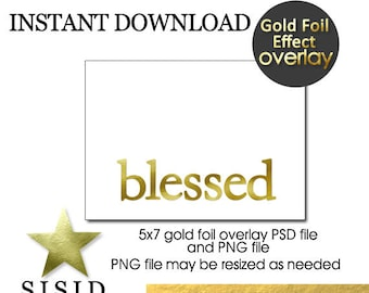 Christmas GOLD Foil Overlay Blessed, blessed Foil Overlay for Photo Christmas Card, for Photo Holiday Photo Card, INSTANT DOWNLOAD