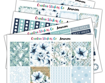 Limited Stock Anemone Floral Weekly Kit Planner Stickers