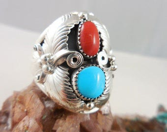 Native American Navajo Bill Willie Turquoise Coral Sterling Ring