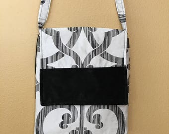 Mary#1315, Black and White Messenger Bag, Black and White Shoulder Purse, IPAD Bag, Black IPAD Bag, Shoulder Purse, Messenger Bag, Purses